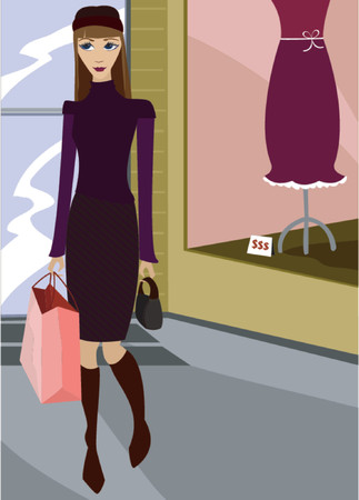 chic: Chic girl shopping at a trendy boutique
