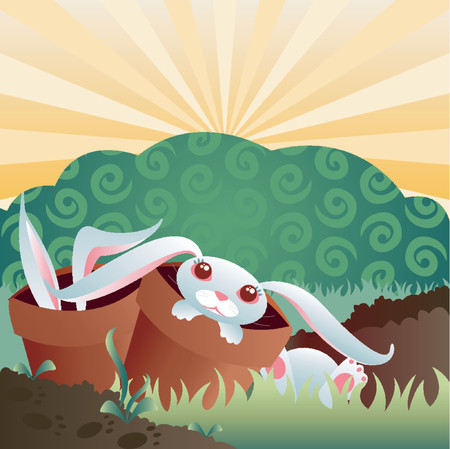 destructive: Bunnies in the garden... theyre cute... theyre Destructive! Illustration