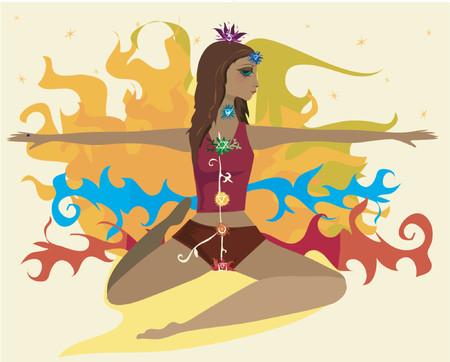 kundalini: Donna in una posa yogic con i sette simboli di chakra lungo il suo corpo