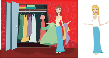 woman looking through her closet at clothes - figuring out what to wear Stock Vector - 607366