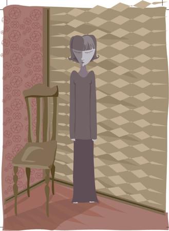 plotting: Sad, shameful... perhaps shes plotting her revenge as she stands sulking in the corner... Illustration