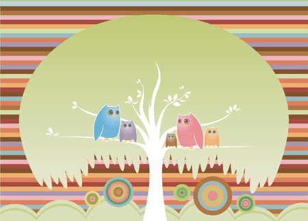 owl illustration: Colorful family of owls perched in their cozy tree...
