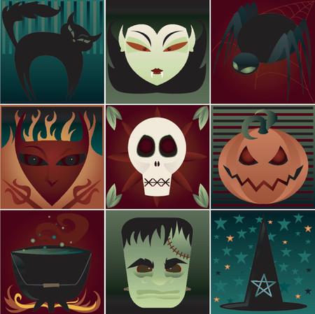 Nine fun & spooky symbols of Halloween - black cat, vampire, black spider, devil, skull, pumpkin, cauldron, frankenstein monster and a witchs pointy hat Illustration