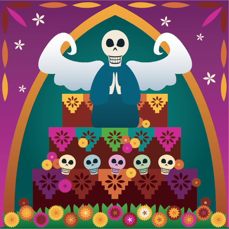Festive skulls and an angel on top of an altar to celebrate Dia de los Muertos (the Day of the Dead, Oct.31-Nov2) - in rememberance of loved ones whove passed Illustration