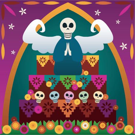 dia de muerto: Los cr�neos festivos y un �ngel encima de un altar para celebrar a Di�metro de los Muertos (el d�a de los muertos, Oct.31-Nov2) - en rememberance de amaron unos whove pasado