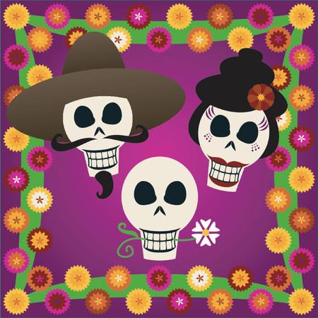 3 つのお祝い頭蓋骨を祝う Dia デ ロス ムエルトス (10 月 31 日 Nov2、死者の日) - カラフルなカーネーションに囲まれて  イラスト・ベクター素材