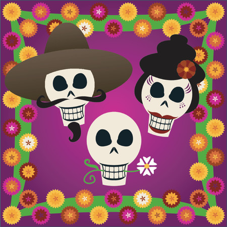 Three festive skulls celebrate Dia de los Muertos (the Day of the Dead, Oct.31-Nov2) - surrounded by colorful carnations