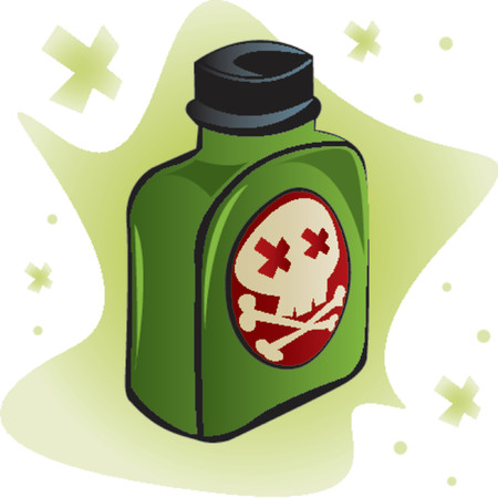 Bottle of poisonous substance with crossbones indicating death on the label Illusztráció