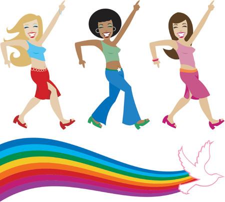 siebziger jahre: Jive M�dchen aus den siebziger Jahren, ihre groove on - beinhaltet eine Retro-Stil Regenbogen mit Taube