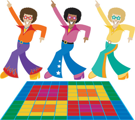 Three groovy disco dudes strutting their stuff in the hottest 70's threads - also includes a disco dance floor
