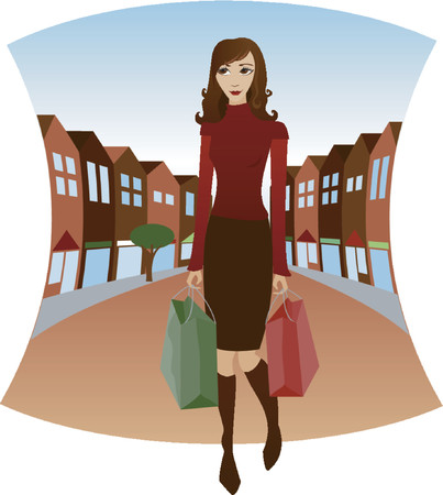 Shopping downtown with bags in hand - Fall colors and Holiday colored bags Vector