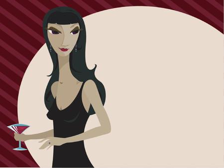 socializando: Elegante mujer en poco vestido de negro, martini en mano y listos para una velada de diversi�n y socializaci�n