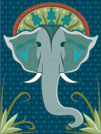 indian blue: Asian-inspired elephant head adorned with beaded patterns and a vibrant halo