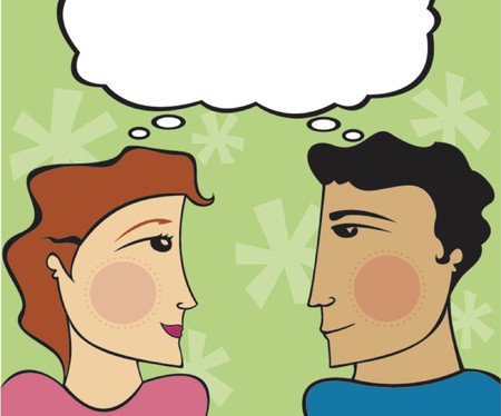 Man and woman looking at eachother, thinking the same thing Vectores