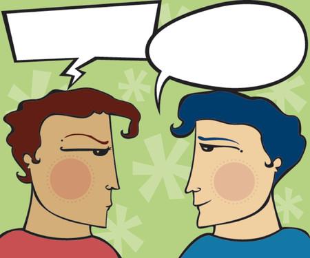 spachteln: Ein Mann ist w�tend, und der andere ist der Versuch zu entschuldigen - leere Sprechblasen f�r Sie zu f�llen