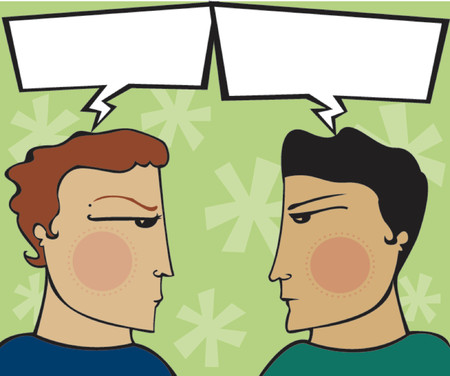 heated: Two guys have a heated discussion - arguing with empty speech bubbles (for you to fill) Illustration