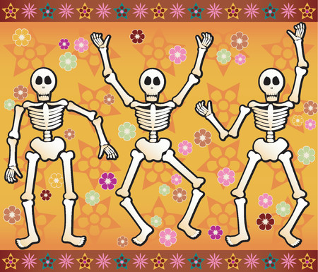Three festive skeletons jump and dance around - bordered by colorful stars and flowers - great for Halloween or Dia de los Muertos Illustration
