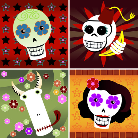 Four festive skulls on four different backgrounds of colorful stars and flowers - includes a man, woman, monkey and bull - great for Halloween or Dia de los Muertos
