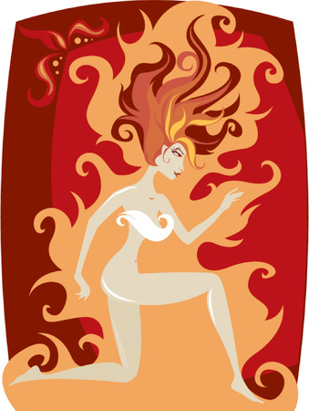 flamboyant: Woman in movement with wildfire hair - on a background of flames Illustration