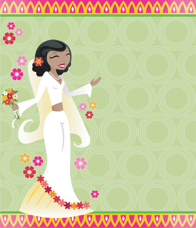 Festive bride on a colorful patterned background, surrounded by beautiful flowers