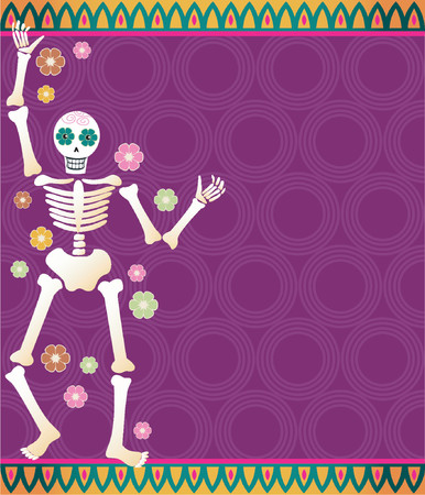 Festive skeleton and flowers on a colorful patterned background - great for Dia de los Muertos Vettoriali