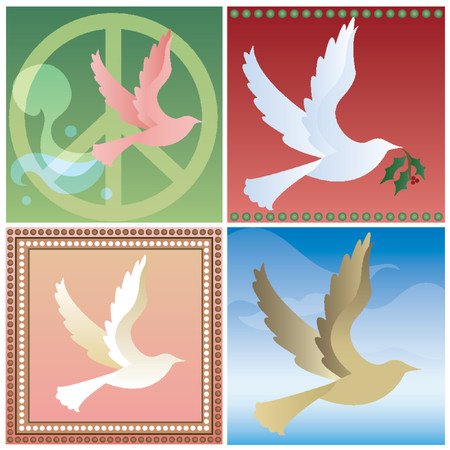 Doves flying in four different styles - Retro peace sign, holiday, feminine and natural