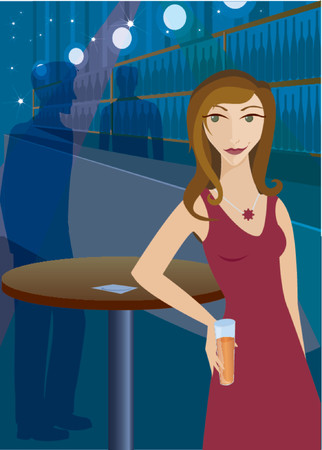 Woman at a bar or club, drink in hand and having a good time Illustration