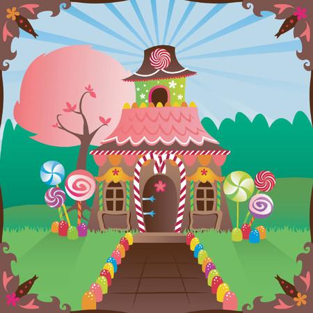 Kleurrijke peperkoek huis ingericht in snoep, in een heldere instelling ... omvat een verhalenboek frame Stock Illustratie
