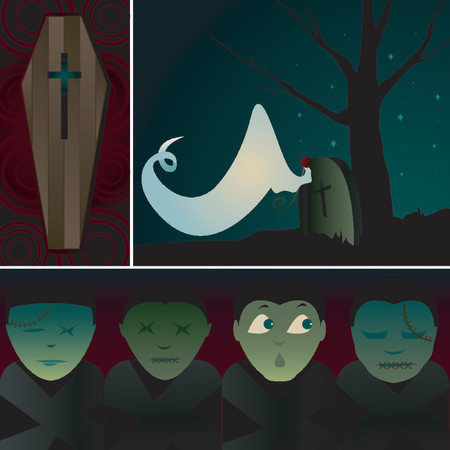 samhain: Three spooky images related to death, burial and graves - including a Coffin, a Ghost visiting a Tombstone and a poor soul waking up in the midst of Corpses Illustration