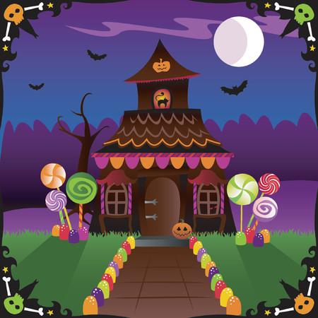 paleta de caramelo: Halloween trata y los critters spooky adornan esta caba�a del pa�s - con los palos en el cielo moonlit y una frontera del cr�neo