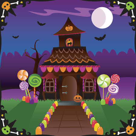 Halloween treats and spooky critters adorn this country cottage - with bats in the moonlit sky & a skull border Stock Vector - 607414