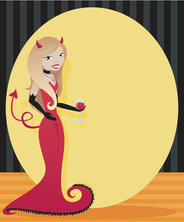 Glamour girl in an elegant devil gown for , holding a glass of wine and welcoming you to the party... plenty of space for ad or invitation text