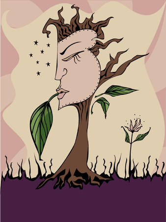 women's issues: Womans face on a tree - symbols of feminine power and womens issues