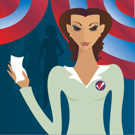 voting ballot: Mujer con su papeleta de votaci�n