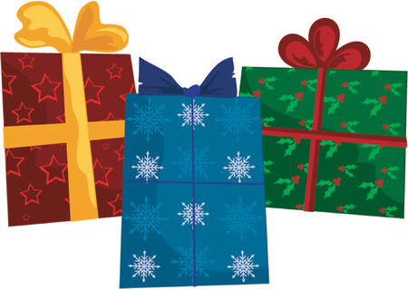 wrap wrapped: Holiday gifts wrapped in different holiday designs and colors: red stars, red and green holly, blue and white snowflakes (path included) Illustration