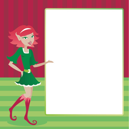Cute holiday elf presenting a blank message area for ad or invitation content Stock Vector - 607421
