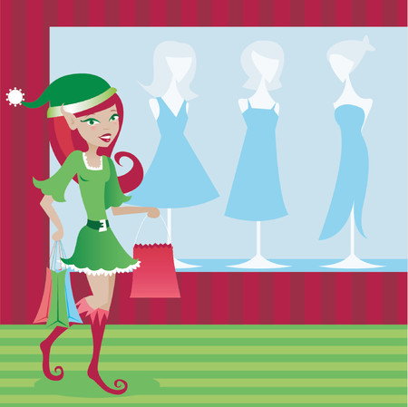 Stylish elf taking care of her holiday shopping Vector