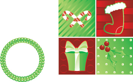 Holiday montage of candy canes, stocking, gift and holly - great for Christmas designs
