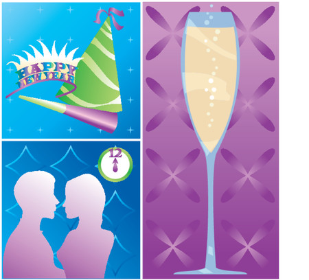 New Years Eve montage - Party items, Champagne and a couple kissing at midnight Vector