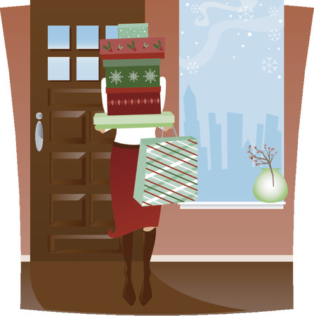 Home from Holiday Shopping with arms full of red and green boxes and bag