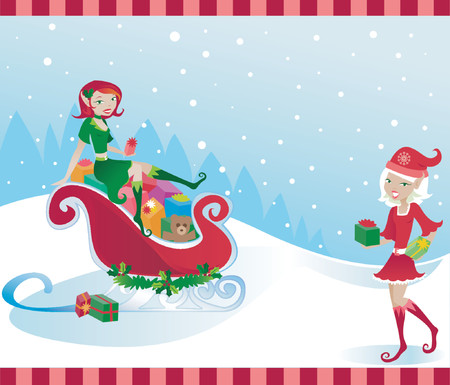 Happy little elves help Santa by filling his sleigh with presents Illustration