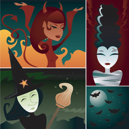 Three frightening females, including She-Devil, Witch and Monster Bride - plus a bat-filled night sky Vettoriali
