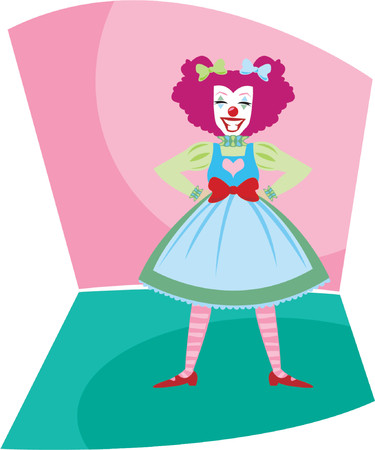 entertain: Colorful, fun and smiling clown - ready to entertain the kids at a carnival, circus or birthday party Illustration
