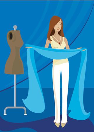 costurera: La mujer tiene mucho tejido azul, inspirado para crear algo