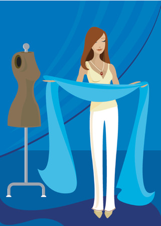 Femme détient long tissu bleu, inspiré de créer quelque chose de