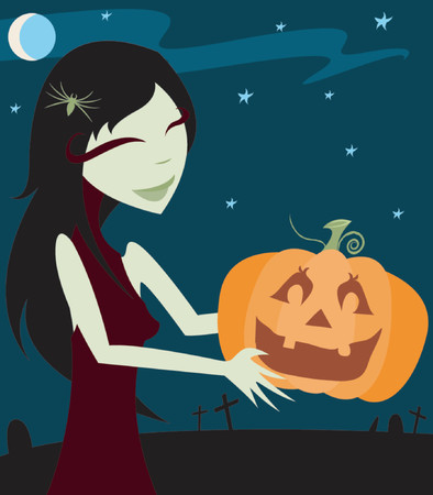 samhain: Gothy girl with a spider in her hair carries a happy halloween Jack-O-Lantern - starry night sky and graves in the background Illustration