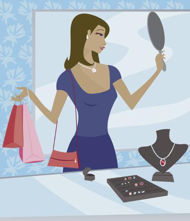 essayer: Femme de shopping dans une boutique de bijoux - l'utilisation d'un miroir pour essayer sur un collier