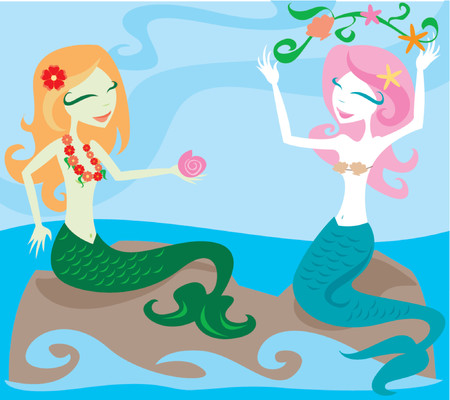 Two mermaids enjoying the ocean, sitting on rocks and playing with sea kelp Illustration