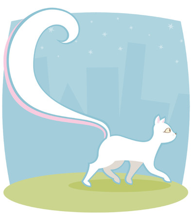 strut: White kitty with a HUGE tail, walking past the city, looking cool Illustration