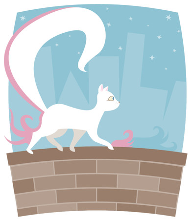 strut: White kitty with a HUGE tail, walking along a brick wall with cityscape and stars in the background